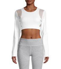 roberto cavalli sport women's lace-up mesh-insert crop top - white - size l