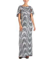 r & m richards swirl sequin gown