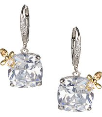 14k goldplated, rhodium-plated & crystal cushion bee drop earrings