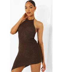 gehaakte jurk met halter neck, chocolate