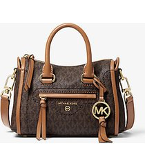 mk borsa a tracolla carine extra-small con logo - marrone - michael kors