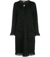 oscar de la renta frayed longline cardigan jacket - black