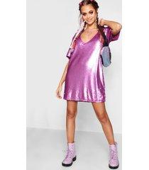 jurk met laag uitgesneden decolleté en pailetten, lila