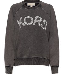 kors logo sweatshirt sweat-shirt tröja grå michael kors