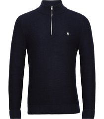 anf mens sweaters knitwear half zip jumpers blå abercrombie & fitch