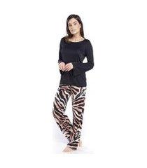 pijama inspirate de inverno animal print safari feminino