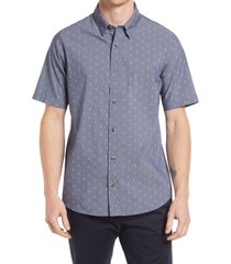 men's travismathew superstition slim fit short sleeve stretch button-up shirt, size xxx-large - blue
