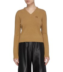 anagram embroidered v-neck wool knit sweater