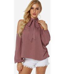 nude lace-up diseño blusa con mangas linterna halter