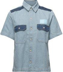 ss boxy shirt blocke overhemd met korte mouwen blauw calvin klein jeans