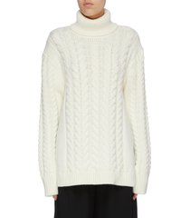 buckle cutout back cable knit turtleneck sweater