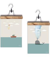 2 plakaty statek i wieloryb a4 z wieszakami
