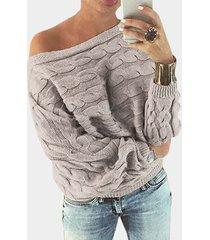 suéter con hombros descubiertos y manga dolman