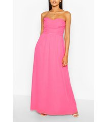 chiffon bandeau maxi bridesmaid dress, magenta