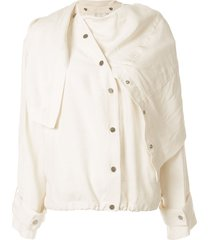3.1 phillip lim removable scarf jacket - white