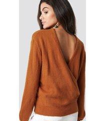 na-kd trend back overlap knitted sweater - orange