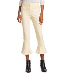 derek lam 10 crosby women's daria ruffle-cuff cropped pants - soft white - size 2