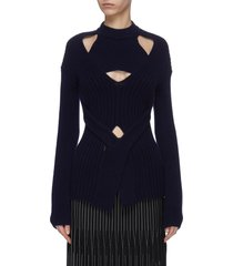 cutout tie front sweater