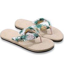 zapatillas de cáñamo womens sandalias planas de cáñamo florales de verano diapositivas zapatillas de playa