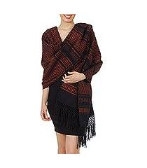 zapotec cotton rebozo shawl, 'fiesta in black and tangerine' (mexico)