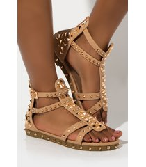 akira cape robbin vacation in rome studded sandal flat