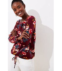 loft floral velour drawstring hem top