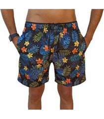 bermuda short moda praia estampados floral relaxado masculina