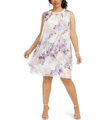 sl fashions plus size floral chiffon cutout dress