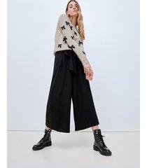 motivi pantaloni cropped con fusciacca donna nero