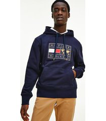 tommy hilfiger men's icon organic cotton world badge hoodie desert sky - xs