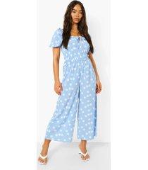 gestipte culotte jumpsuit met strik en pofmouwen, blue