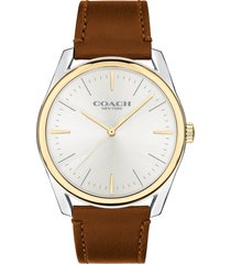 men's coach preston leather strap watch, 41mm