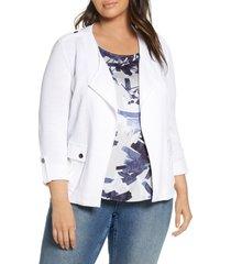 plus size women's nic+zoe in flight linen blend knit jacket, size 2x - white