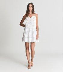 reiss debora - embroidered mini dress in white, womens, size 14