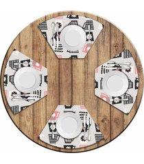 jogo americano love decor para mesa redonda wevans xícaras kit com 4 pçs