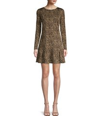 animal-print ruffle hem dress