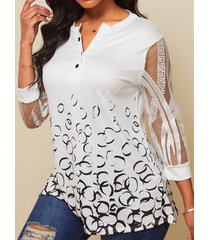 camicetta con bottoni in pizzo patchwork colletto stampato per le donne