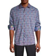 robert graham men's hattiesburg classic-fit floral shirt - blue multi - size m