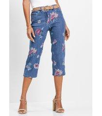 capri jeans met bloemenprint