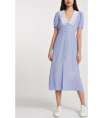 river island womens blue floral print collar midi dress