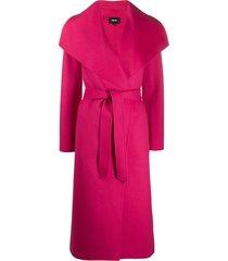 mackage mair belted midi coat - pink