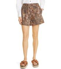 women's ganni floral print organic cotton poplin shorts, size 2 us - beige