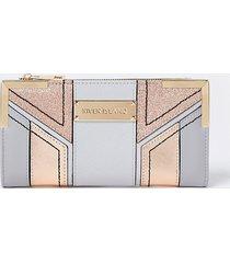 river island womens grey glitter cut out purse