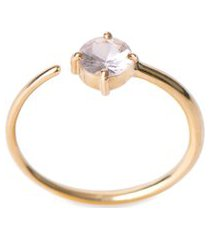 anel feminino safira redonda em ouro