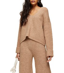 women's topshop lounge hooded sweater, size x-small - beige
