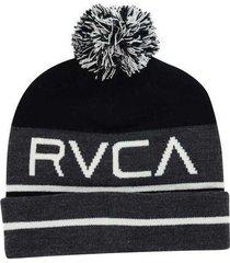 rvca clothing co black & gray range knit pom pom winter hat beanie toque