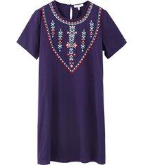 vestido recto bordado étnico azul nicopoly