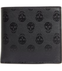 men's alexander mcqueen skull print leather bifold wallet - black