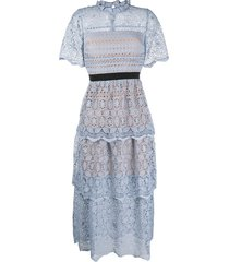 self-portrait steel lace tiered dress - blue