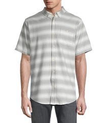 ezekiel men's striped short-sleeve shirt - linen - size l
